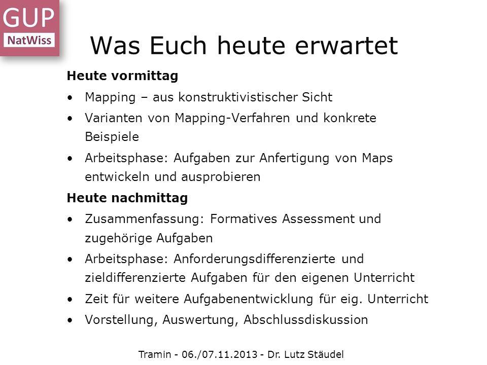 Was Euch heute erwartet Heute vormittag Mapping – aus konstruktivistischer Sicht Varianten von Mapping-Verfahren und konkrete Beispiele Arbeitsphase: