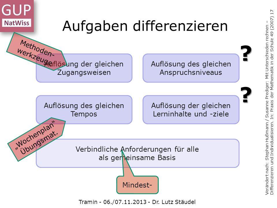 Aufgaben differenzieren Tramin - 06./07.11.2013 - Dr. Lutz Stäudel Verändert nach: Stephan Hußmann / Susanne Prediger: Mit Unterschieden rechnen – Dif