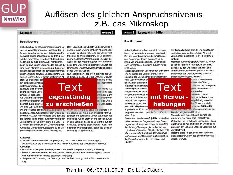 Auflösen des gleichen Anspruchsniveaus z.B. das Mikroskop Tramin - 06./07.11.2013 - Dr. Lutz Stäudel Text eigenständig zu erschließen Text mit Hervor-