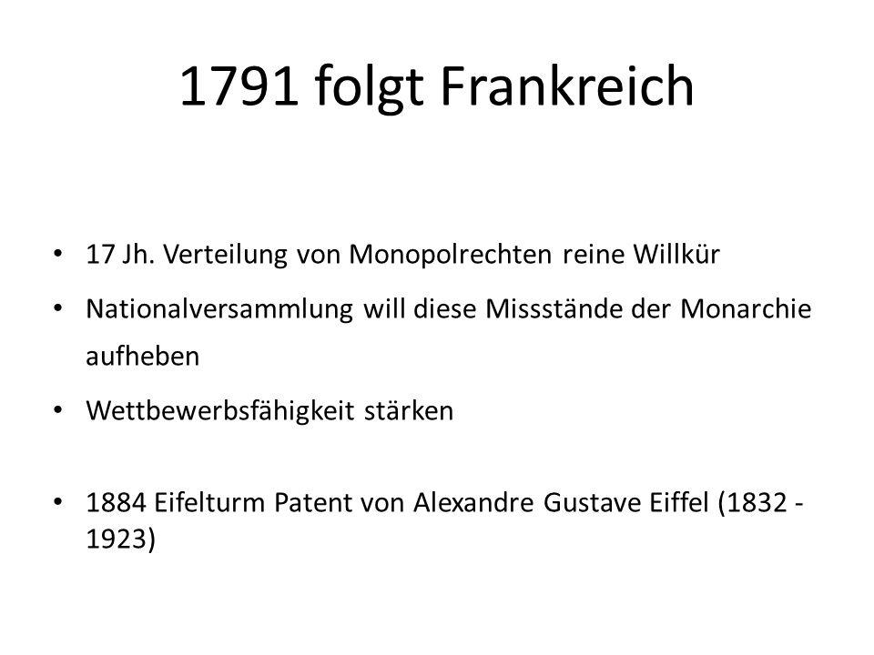 1791 folgt Frankreich 17 Jh. Verteilung von Monopolrechten reine Willkür Nationalversammlung will diese Missstände der Monarchie aufheben Wettbewerbsf