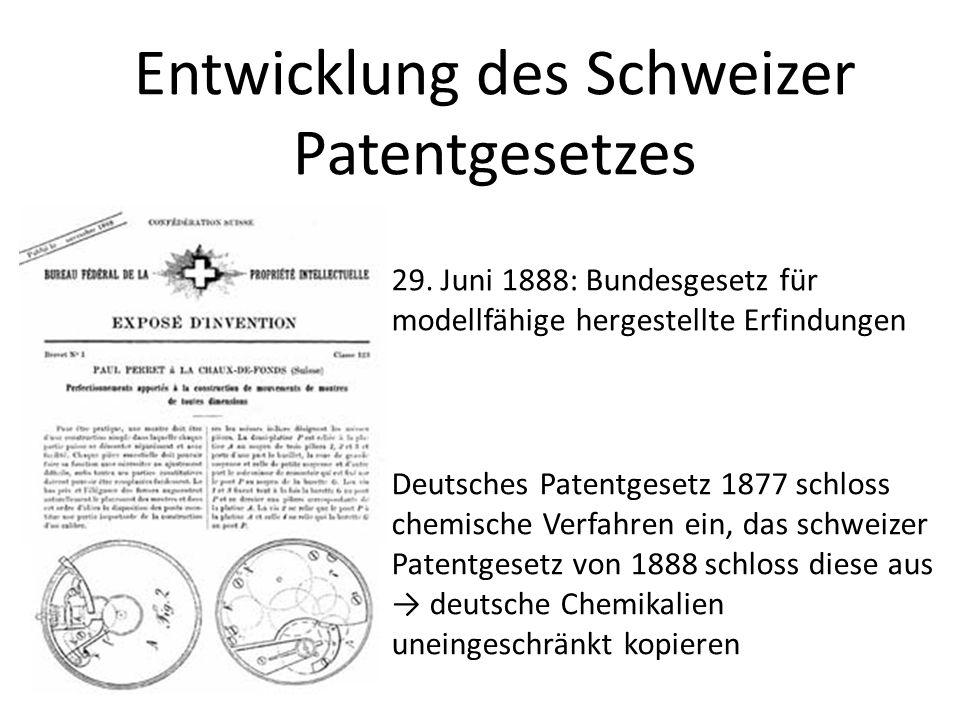 29. Juni 1888: Bundesgesetz für modellfähige hergestellte Erfindungen Deutsches Patentgesetz 1877 schloss chemische Verfahren ein, das schweizer Paten