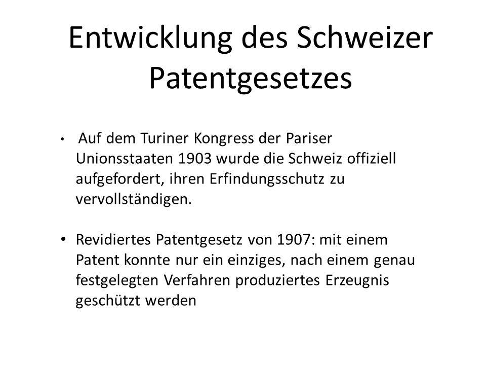 Auf dem Turiner Kongress der Pariser Unionsstaaten 1903 wurde die Schweiz offiziell aufgefordert, ihren Erfindungsschutz zu vervollständigen. Revidier