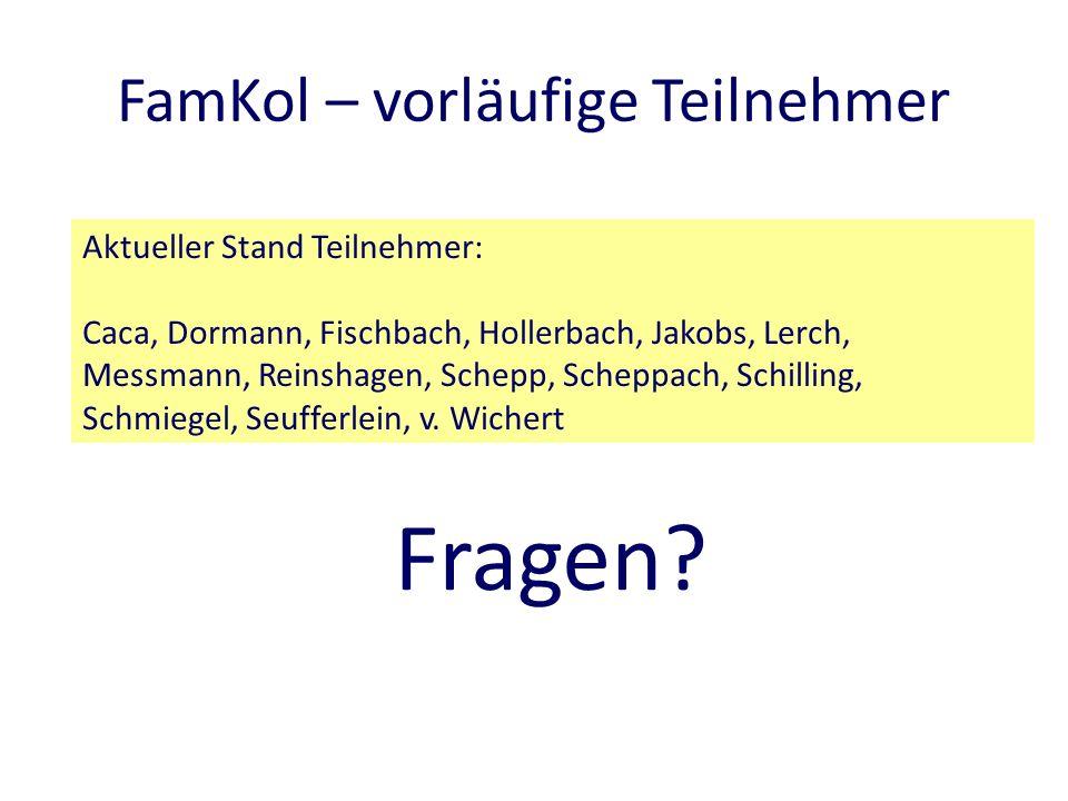 FamKol – vorläufige Teilnehmer Aktueller Stand Teilnehmer: Caca, Dormann, Fischbach, Hollerbach, Jakobs, Lerch, Messmann, Reinshagen, Schepp, Scheppach, Schilling, Schmiegel, Seufferlein, v.