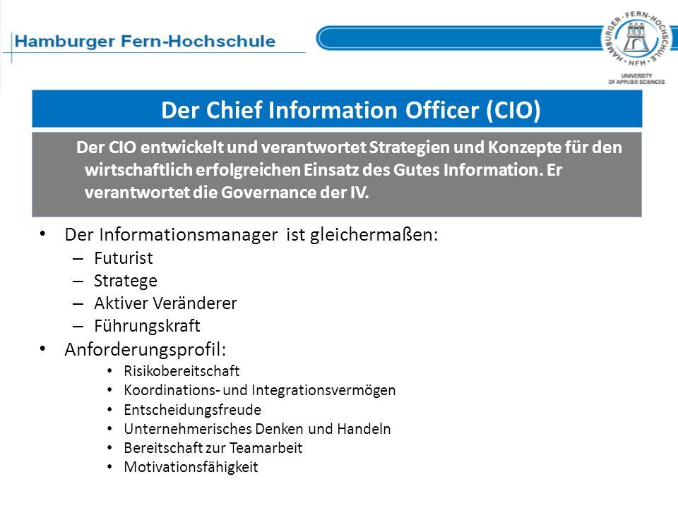 Der Chief Information Officer (CIO) Der Informationsmanager ist gleichermaßen: – Futurist – Stratege – Aktiver Veränderer – Führungskraft Anforderungs