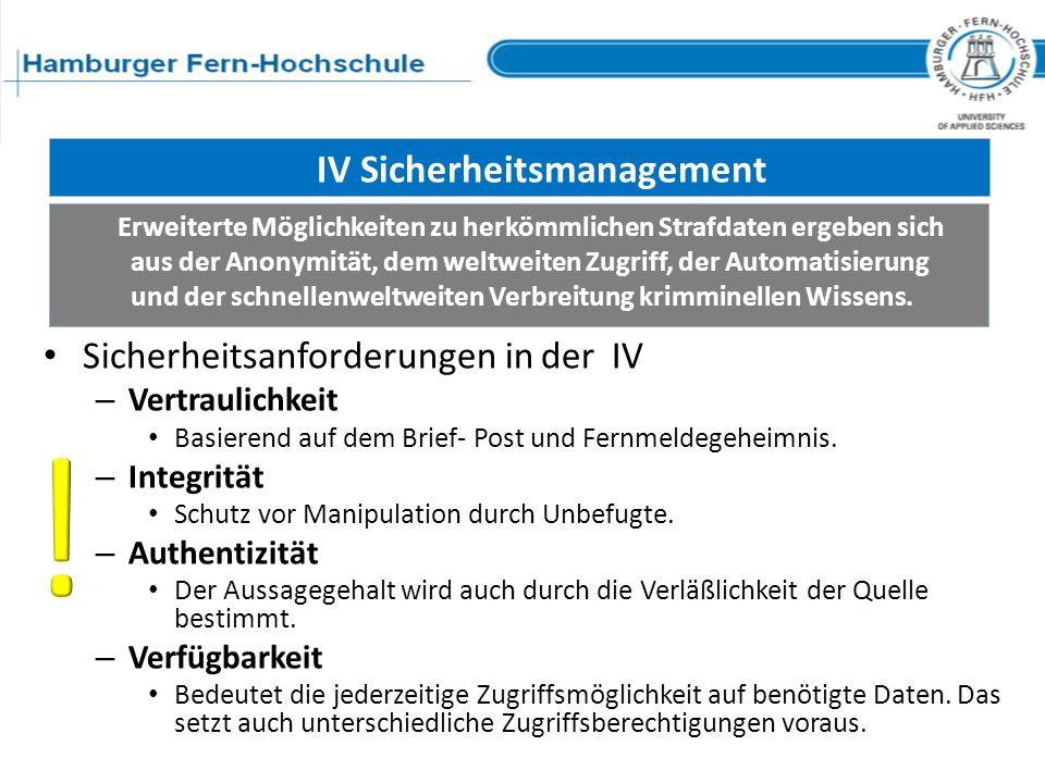 IV Sicherheitsmanagement Sicherheitsanforderungen in der IV – Vertraulichkeit Basierend auf dem Brief- Post und Fernmeldegeheimnis. – Integrität Schut