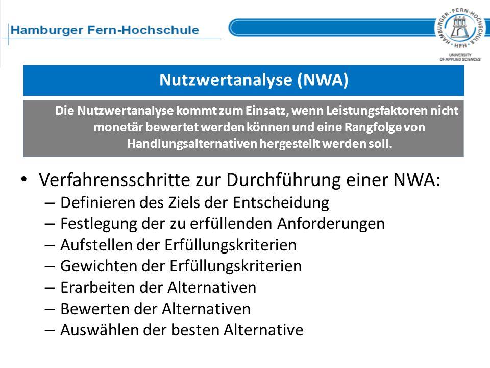 Nutzwertanalyse (NWA) Verfahrensschritte zur Durchführung einer NWA: – Definieren des Ziels der Entscheidung – Festlegung der zu erfüllenden Anforderu