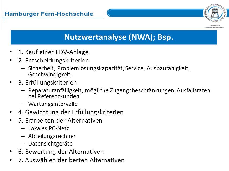 Nutzwertanalyse (NWA); Bsp. 1. Kauf einer EDV-Anlage 2. Entscheidungskriterien – Sicherheit, Problemlösungskapazität, Service, Ausbaufähigkeit, Geschw