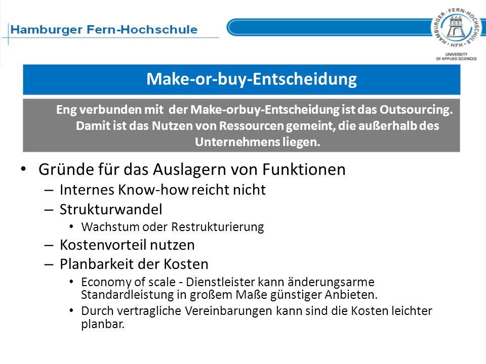 Kriterien der Make-or-buy Entscheidung Umfang und Organisationsform des Outsourcing
