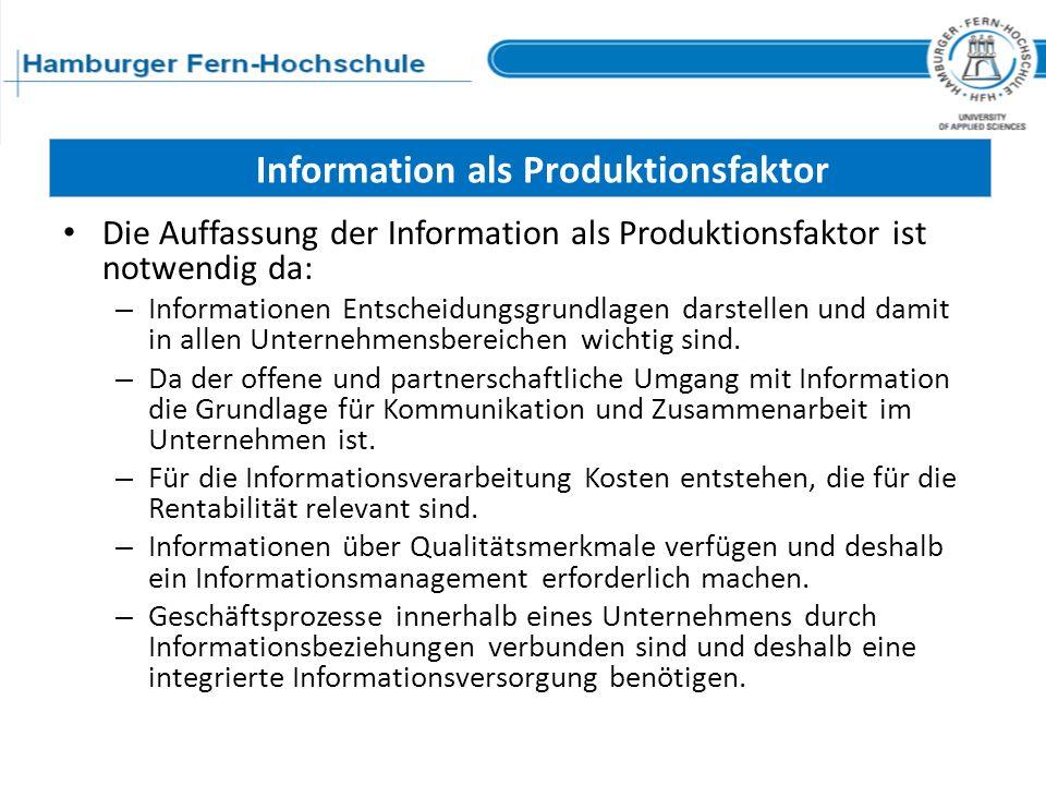 Information als Produktionsfaktor Die Auffassung der Information als Produktionsfaktor ist notwendig da: – Informationen Entscheidungsgrundlagen darst
