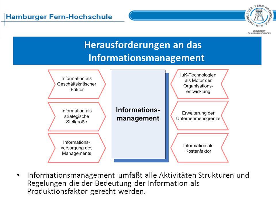 Herausforderungen an das Informationsmanagement Informationsmanagement umfaßt alle Aktivitäten Strukturen und Regelungen die der Bedeutung der Informa