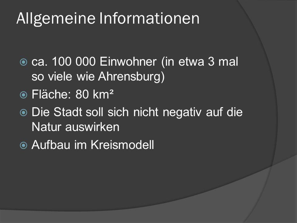 Allgemeine Informationen ca. 100 000 Einwohner (in etwa 3 mal so viele wie Ahrensburg) Fläche: 80 km² Die Stadt soll sich nicht negativ auf die Natur