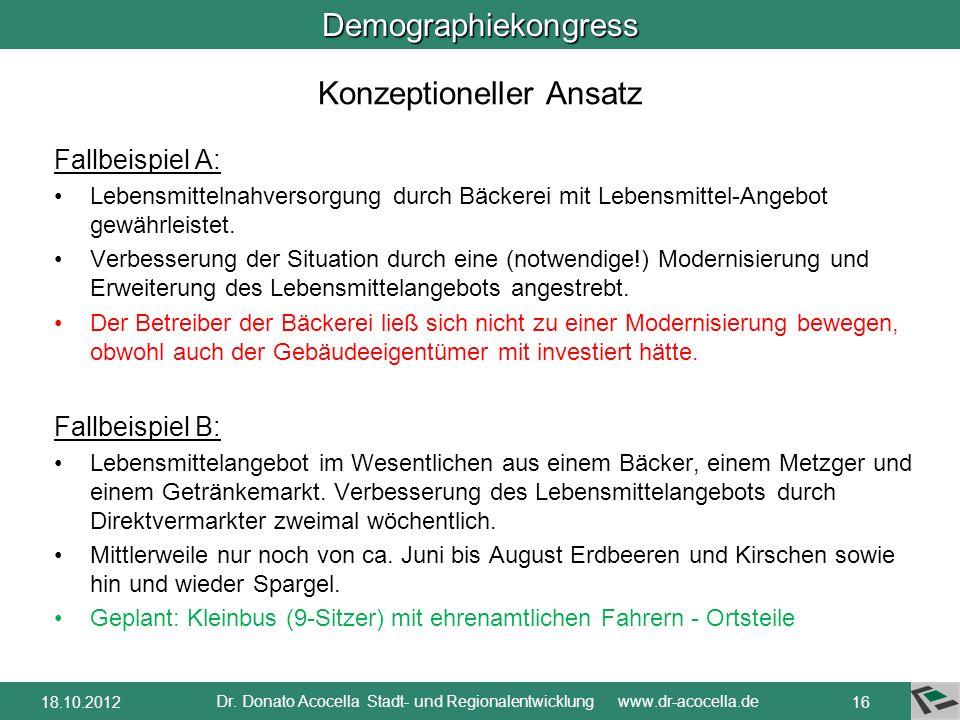 Demographiekongress Dr. Donato Acocella Stadt- und Regionalentwicklung www.dr-acocella.de 1518.10.2012