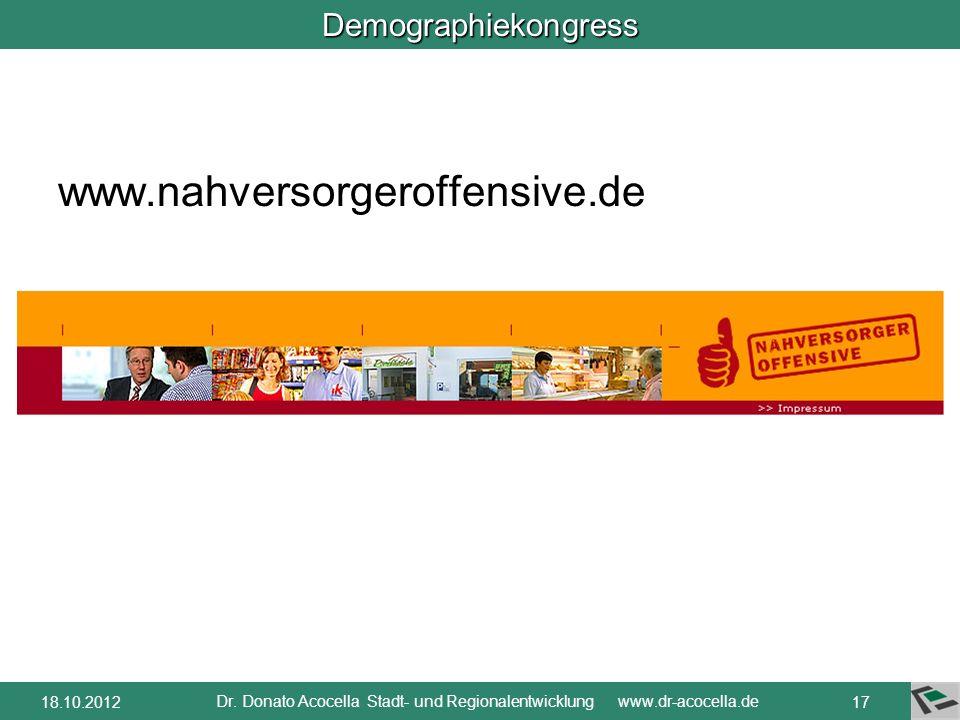 Demographiekongress Fallbeispiel A: Lebensmittelnahversorgung durch Bäckerei mit Lebensmittel-Angebot gewährleistet. Verbesserung der Situation durch