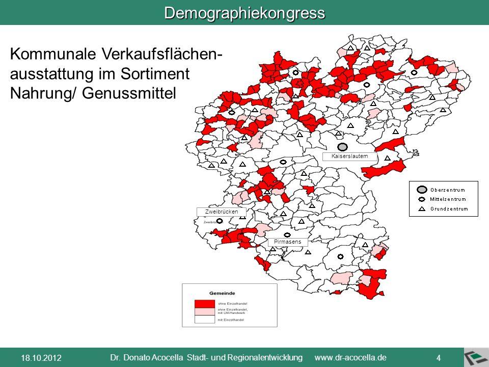 Demographiekongress Dr. Donato Acocella Stadt- und Regionalentwicklung www.dr-acocella.de 318.10.2012 Voll versorgte Einwohner durch Betriebe mit 800
