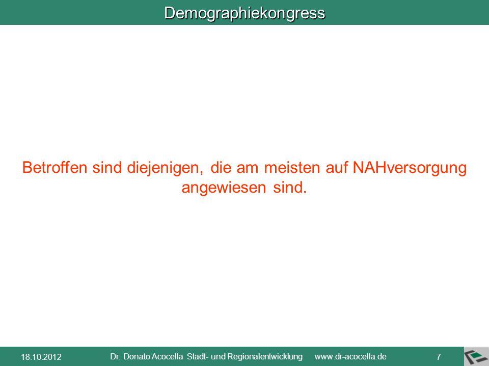 Demographiekongress Dr. Donato Acocella Stadt- und Regionalentwicklung www.dr-acocella.de 618.10.2012 rechnerische Reichweite der Lebensmittelbetriebe