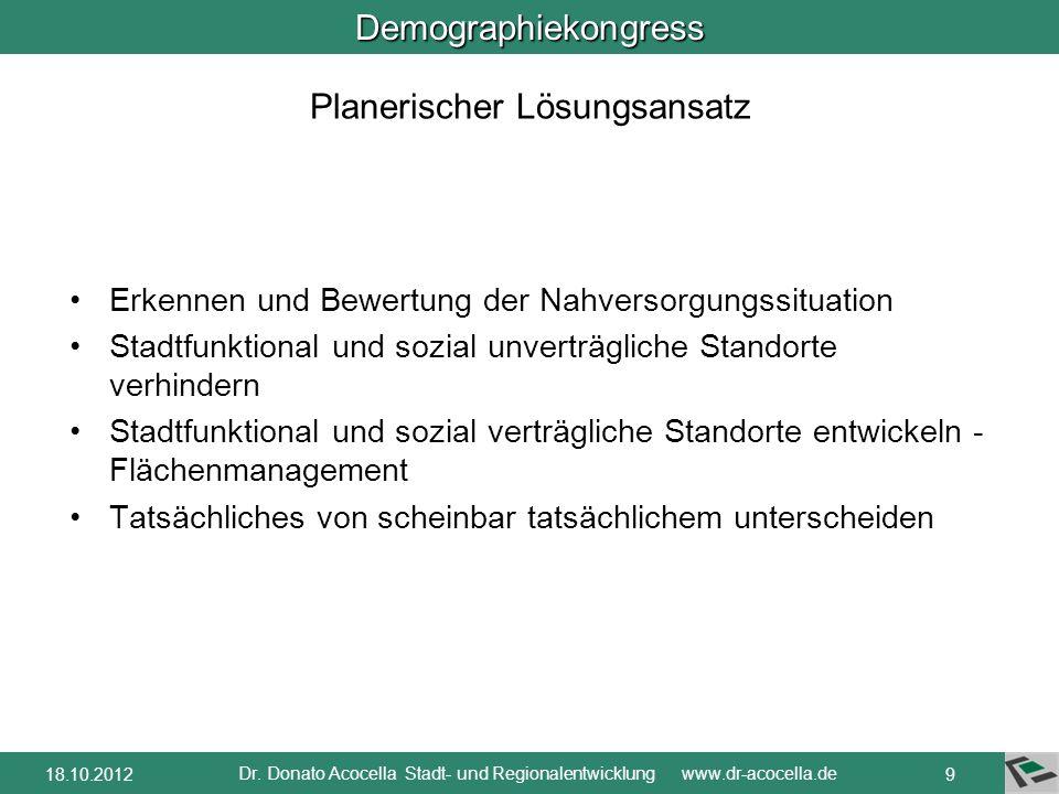Demographiekongress Dr. Donato Acocella Stadt- und Regionalentwicklung www.dr-acocella.de 818.10.2012 Betroffene Bevölkerungsgruppen