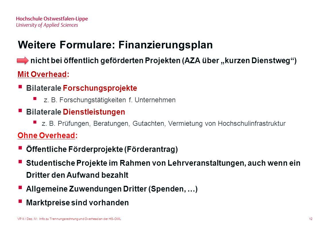 12VP II / Dez. IV: Info zu Trennungsrechnung und Overhead an der HS-OWL Weitere Formulare: Finanzierungsplan nicht bei öffentlich geförderten Projekte