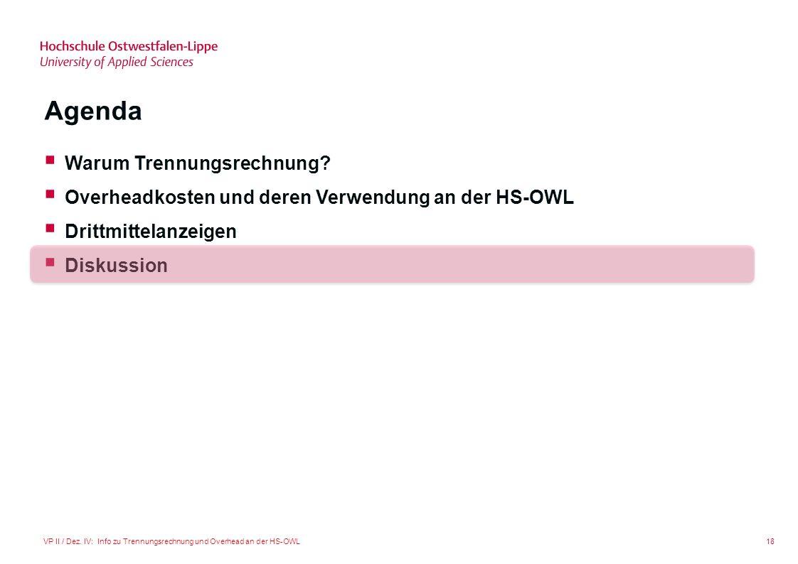 18VP II / Dez. IV: Info zu Trennungsrechnung und Overhead an der HS-OWL Agenda Warum Trennungsrechnung? Overheadkosten und deren Verwendung an der HS-
