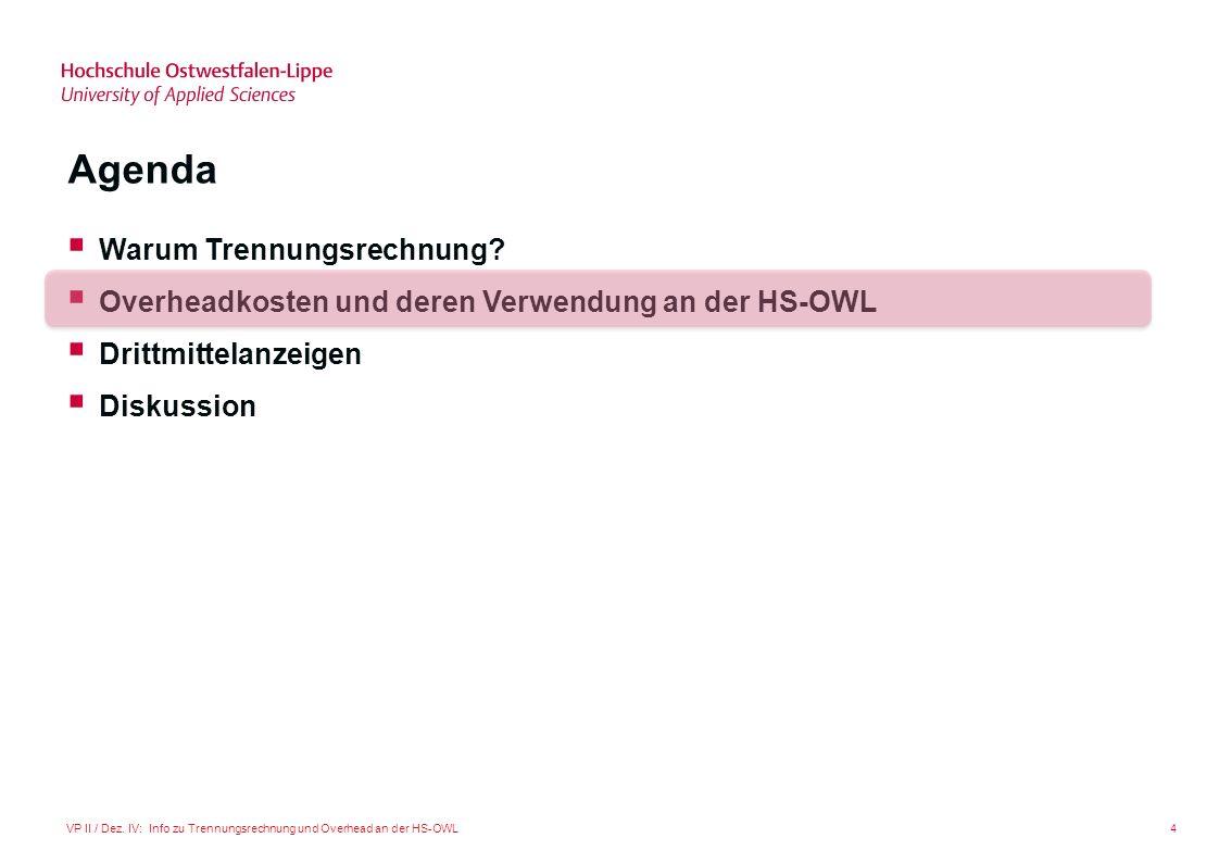 4VP II / Dez. IV: Info zu Trennungsrechnung und Overhead an der HS-OWL Agenda Warum Trennungsrechnung? Overheadkosten und deren Verwendung an der HS-O