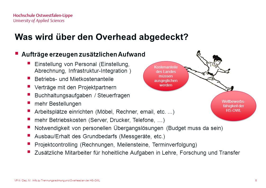 5VP II / Dez. IV: Info zu Trennungsrechnung und Overhead an der HS-OWL Was wird über den Overhead abgedeckt? Aufträge erzeugen zusätzlichen Aufwand Ei