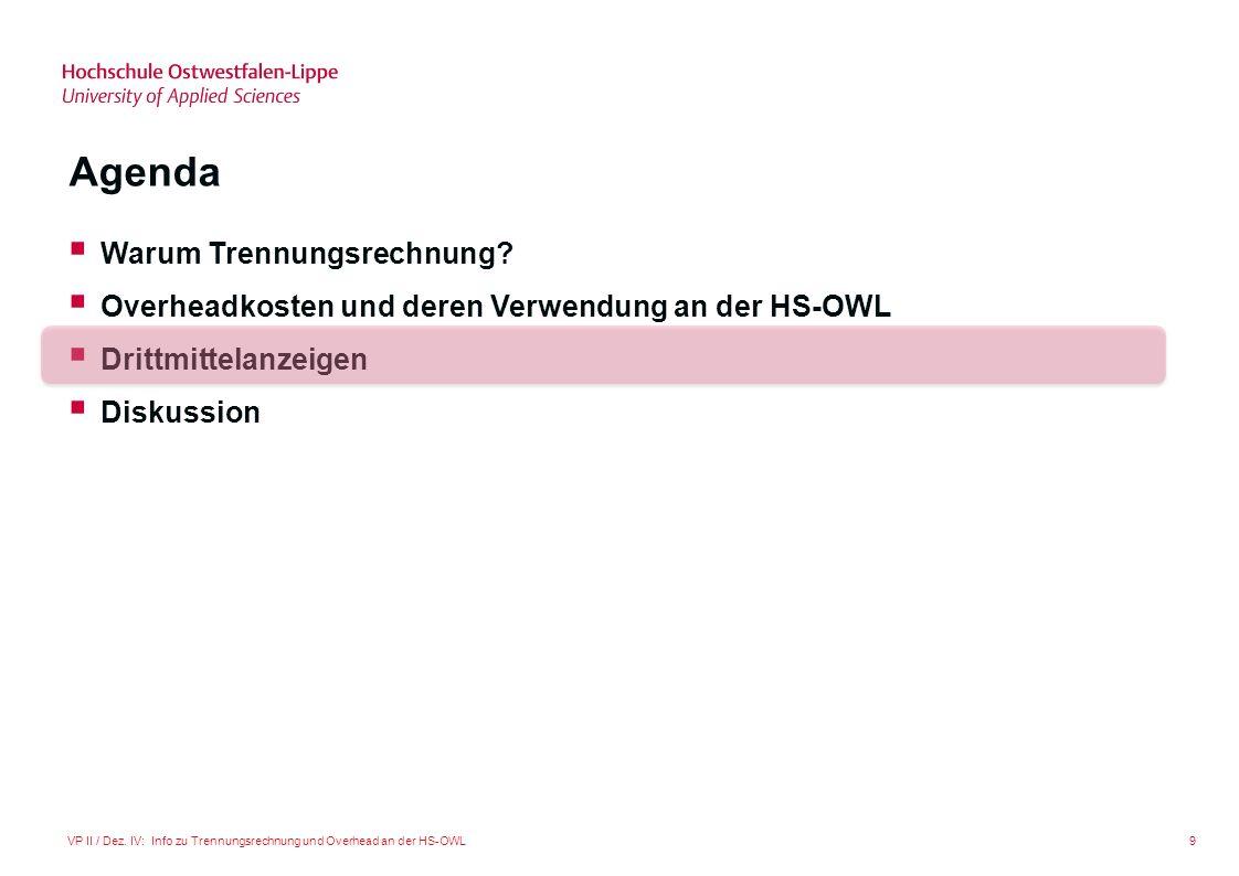9VP II / Dez. IV: Info zu Trennungsrechnung und Overhead an der HS-OWL Agenda Warum Trennungsrechnung? Overheadkosten und deren Verwendung an der HS-O