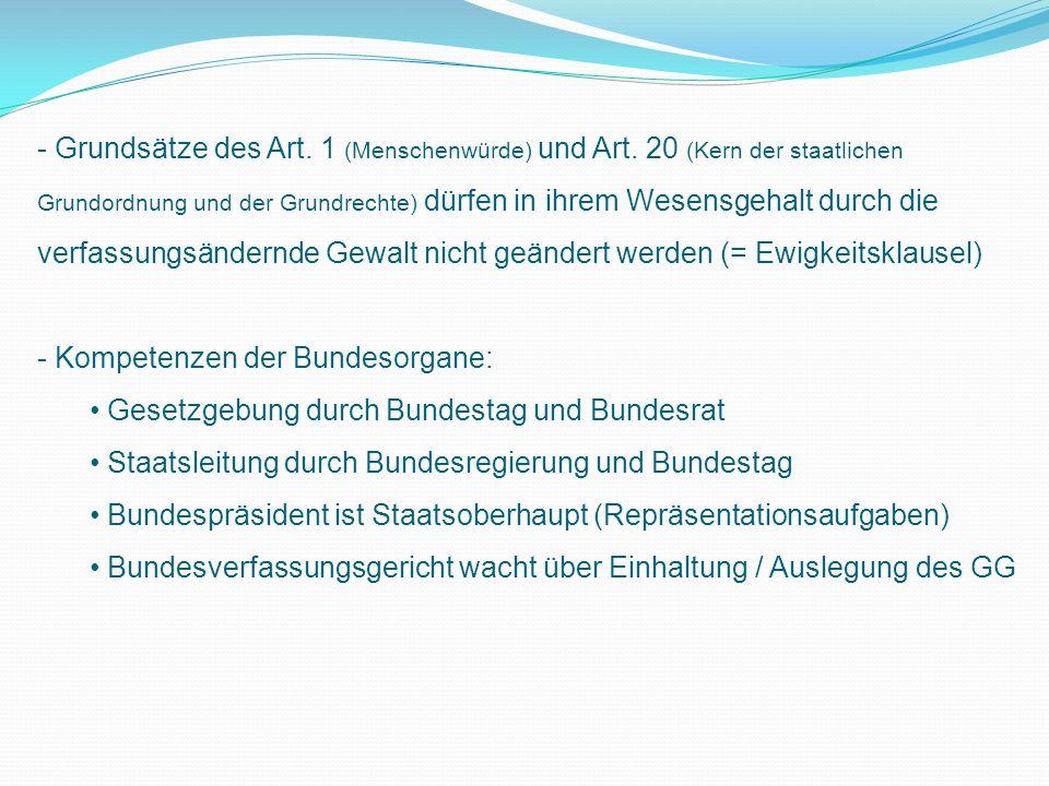 - Grundsätze des Art.1 (Menschenwürde) und Art.