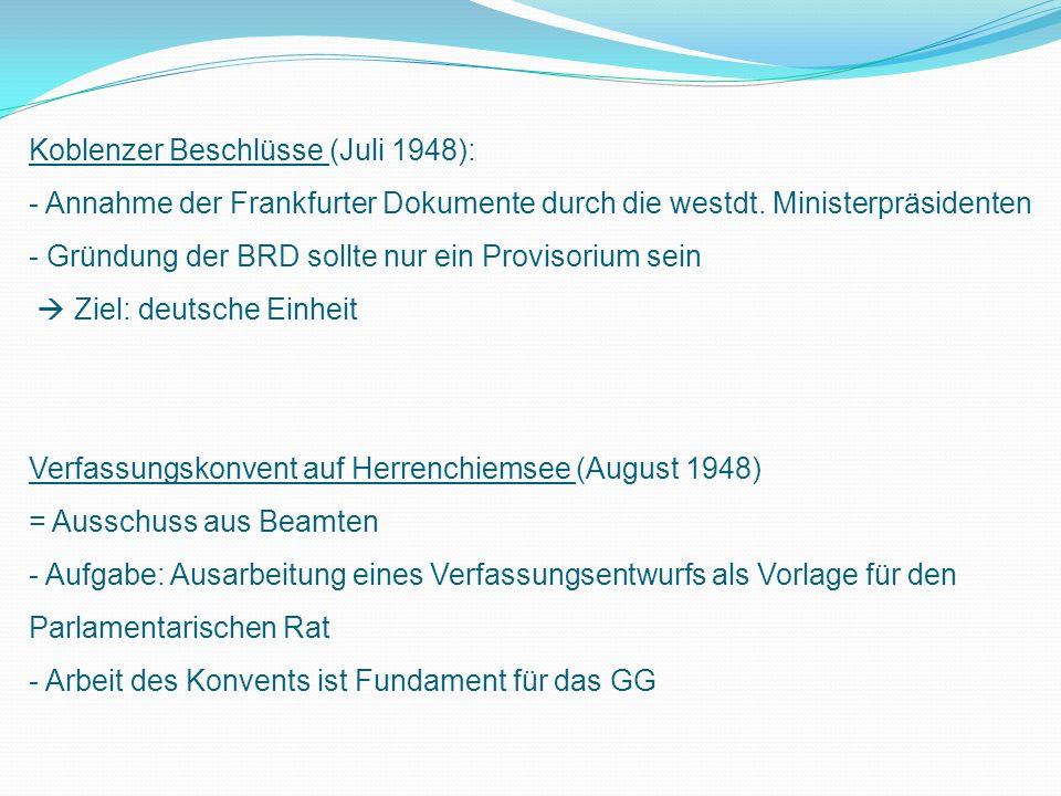 Koblenzer Beschlüsse (Juli 1948): - Annahme der Frankfurter Dokumente durch die westdt.