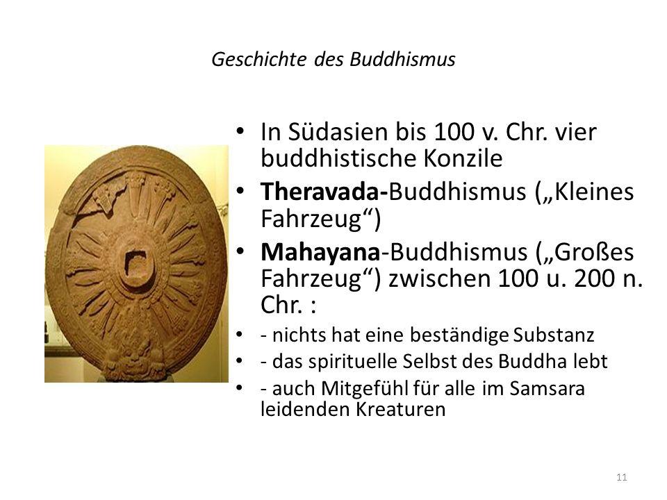 Geschichte des Buddhismus In Südasien bis 100 v. Chr. vier buddhistische Konzile Theravada-Buddhismus (Kleines Fahrzeug) Mahayana-Buddhismus (Großes F