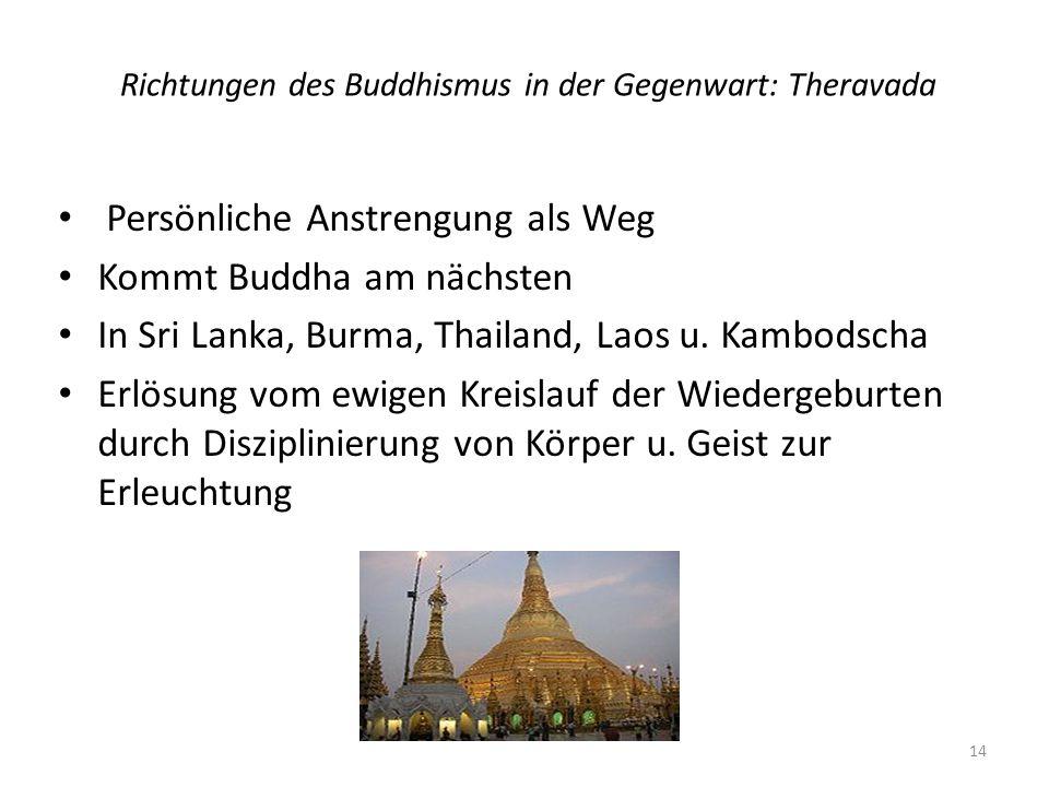 Richtungen des Buddhismus in der Gegenwart: Theravada Persönliche Anstrengung als Weg Kommt Buddha am nächsten In Sri Lanka, Burma, Thailand, Laos u.