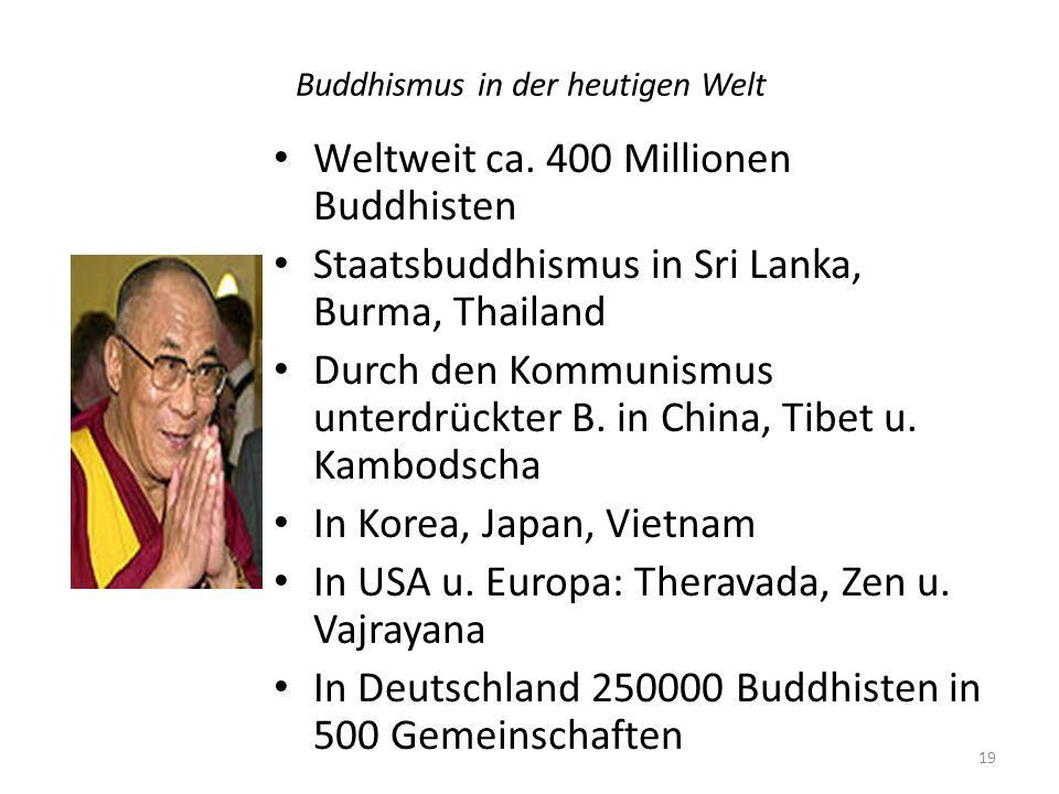 Buddhismus in der heutigen Welt Weltweit ca. 400 Millionen Buddhisten Staatsbuddhismus in Sri Lanka, Burma, Thailand Durch den Kommunismus unterdrückt