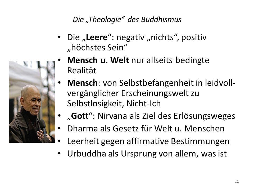 Die Theologie des Buddhismus Die Leere: negativ nichts, positiv höchstes Sein Mensch u. Welt nur allseits bedingte Realität Mensch: von Selbstbefangen