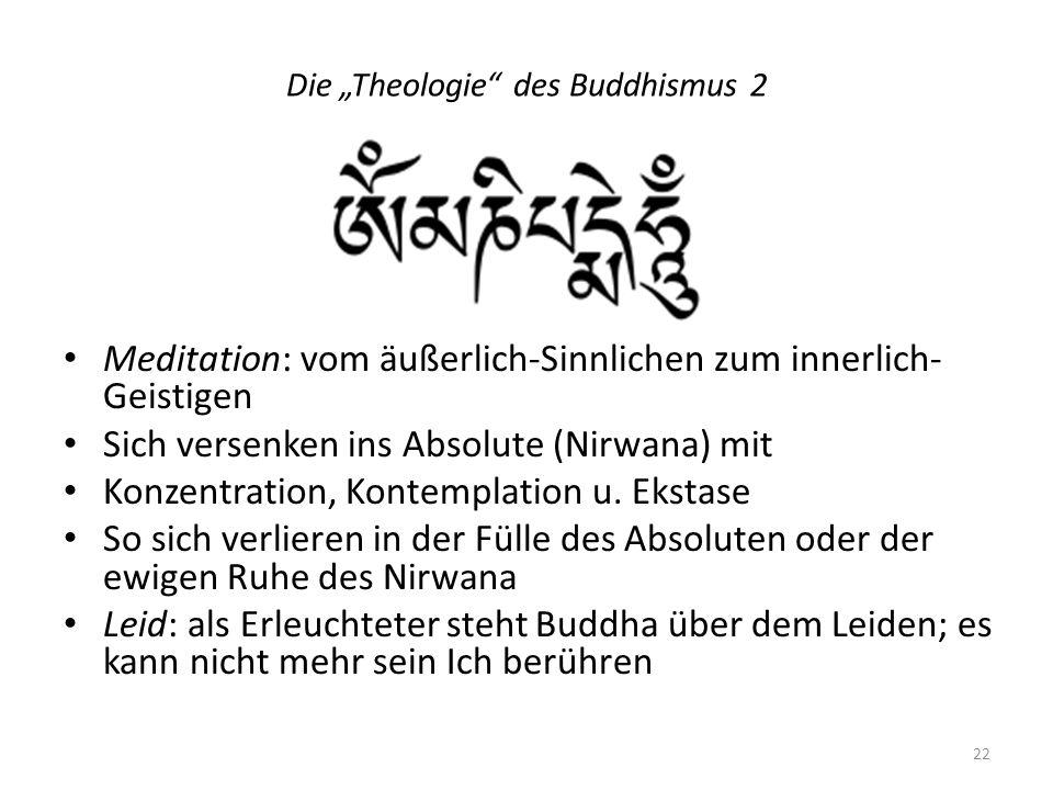Die Theologie des Buddhismus 2 Meditation: vom äußerlich-Sinnlichen zum innerlich- Geistigen Sich versenken ins Absolute (Nirwana) mit Konzentration,