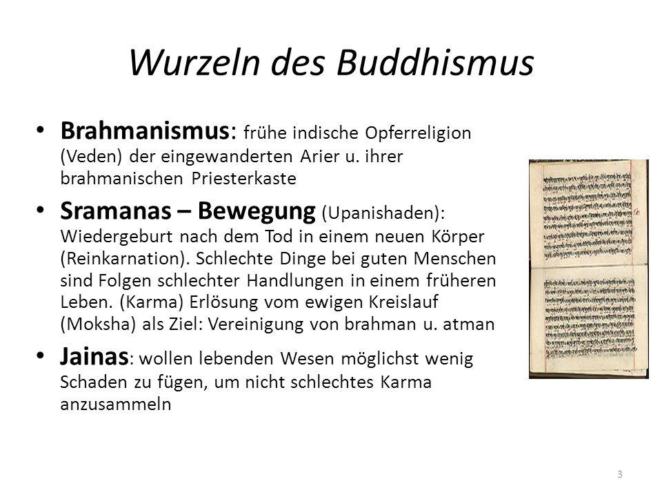 Wurzeln des Buddhismus Brahmanismus: frühe indische Opferreligion (Veden) der eingewanderten Arier u. ihrer brahmanischen Priesterkaste Sramanas – Bew