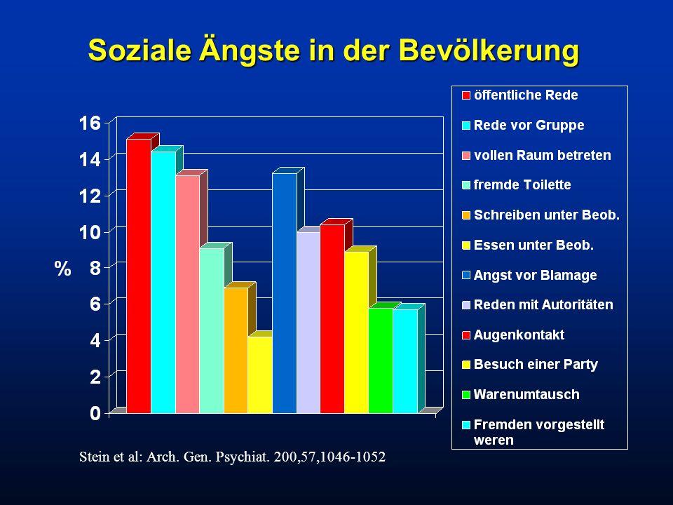 Soziale Ängste in der Bevölkerung Stein et al: Arch. Gen. Psychiat. 200,57,1046-1052