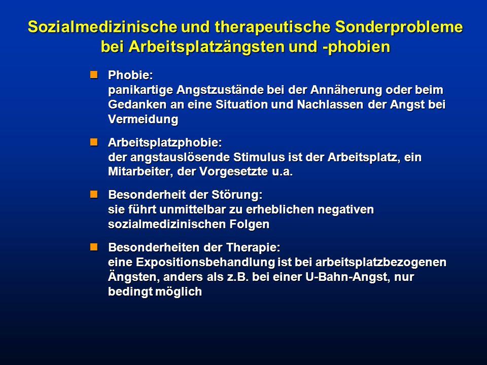 Sozialmedizinische und therapeutische Sonderprobleme bei Arbeitsplatzängsten und -phobien nPhobie: panikartige Angstzustände bei der Annäherung oder b