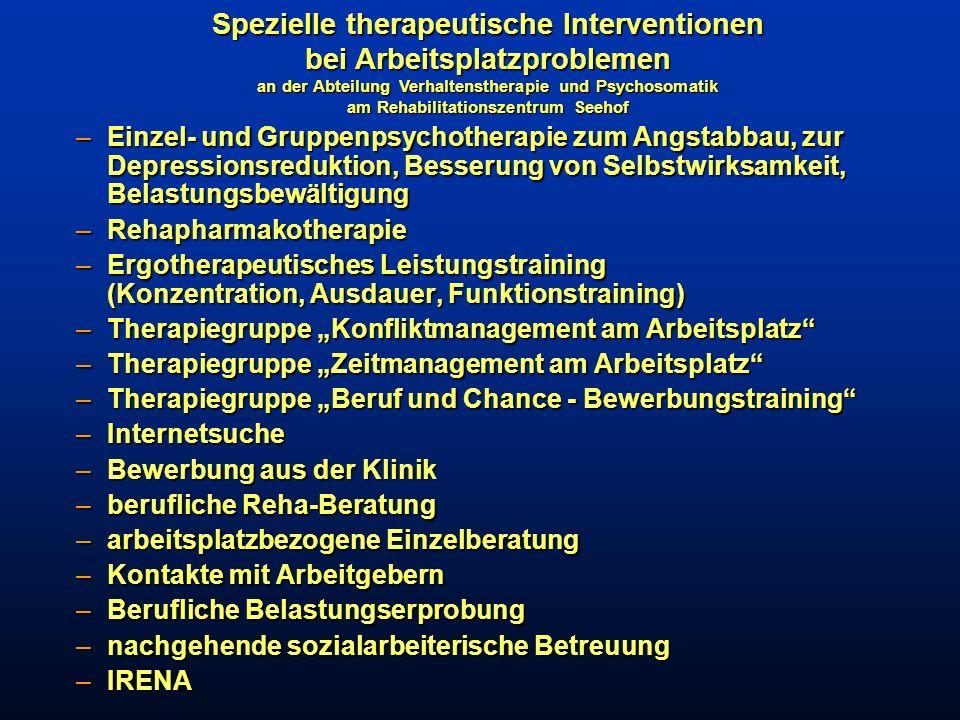–Einzel- und Gruppenpsychotherapie zum Angstabbau, zur Depressionsreduktion, Besserung von Selbstwirksamkeit, Belastungsbewältigung –Rehapharmakothera