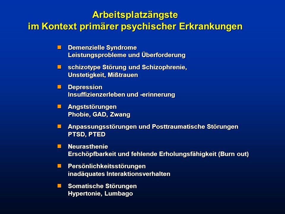 Arbeitsplatzängste im Kontext primärer psychischer Erkrankungen nDemenzielle Syndrome Leistungsprobleme und Überforderung nschizotype Störung und Schi