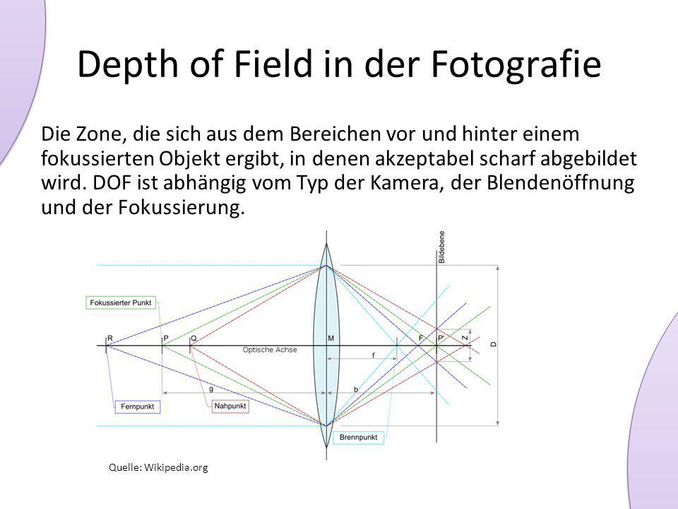 Depth of Field in der Fotografie Die Zone, die sich aus dem Bereichen vor und hinter einem fokussierten Objekt ergibt, in denen akzeptabel scharf abgebildet wird.