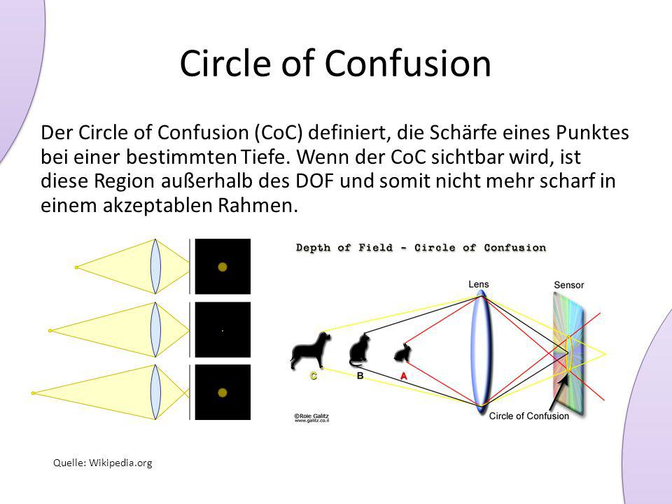 Circle of Confusion Der Circle of Confusion (CoC) definiert, die Schärfe eines Punktes bei einer bestimmten Tiefe. Wenn der CoC sichtbar wird, ist die