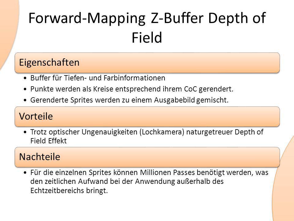Forward-Mapping Z-Buffer Depth of Field Eigenschaften Buffer für Tiefen- und Farbinformationen Punkte werden als Kreise entsprechend ihrem CoC gerende