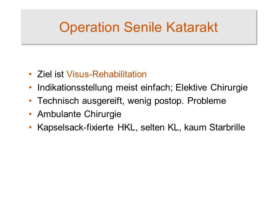 Operation Senile Katarakt Ziel ist Visus-Rehabilitation Indikationsstellung meist einfach; Elektive Chirurgie Technisch ausgereift, wenig postop.
