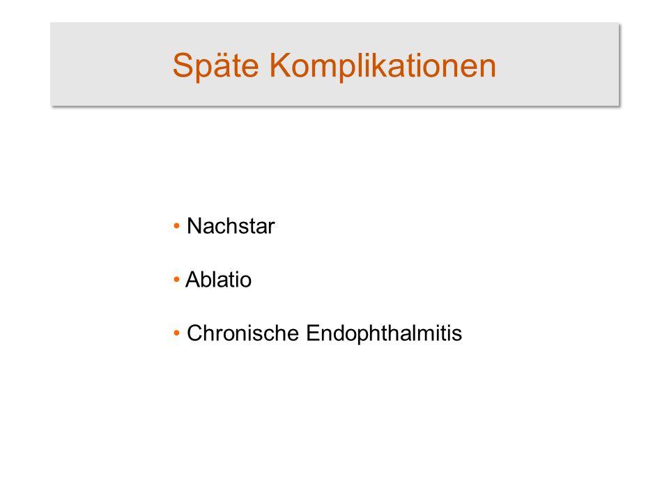 Späte Komplikationen Nachstar Ablatio Chronische Endophthalmitis