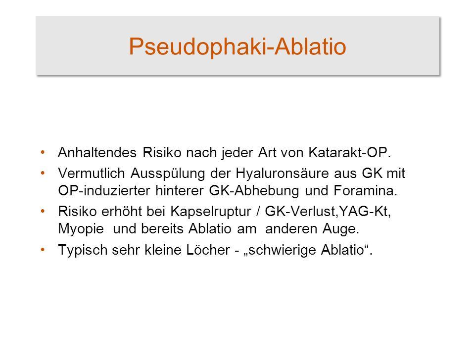 Pseudophaki-Ablatio Anhaltendes Risiko nach jeder Art von Katarakt-OP.