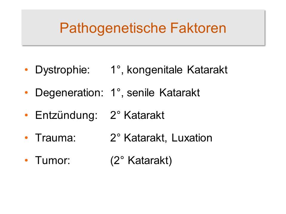 Pathogenetische Faktoren Dystrophie:1°, kongenitale Katarakt Degeneration:1°, senile Katarakt Entzündung:2° Katarakt Trauma:2° Katarakt, Luxation Tumor:(2° Katarakt)