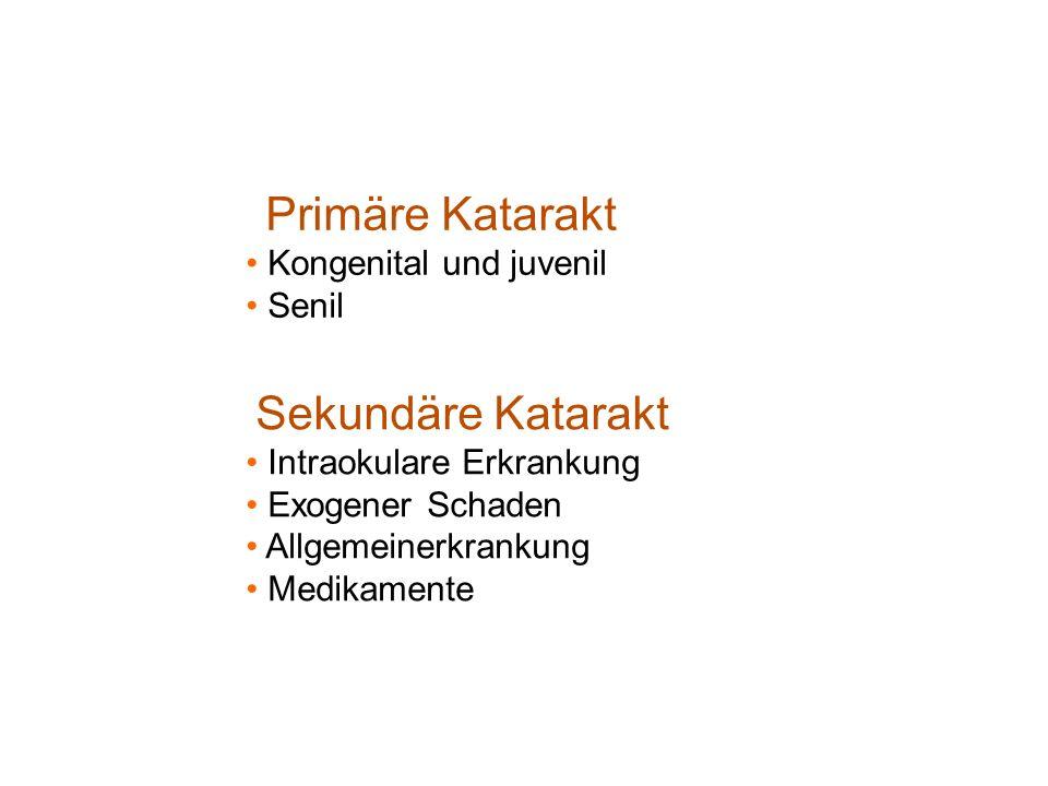 Primäre Katarakt Kongenital und juvenil Senil Sekundäre Katarakt Intraokulare Erkrankung Exogener Schaden Allgemeinerkrankung Medikamente