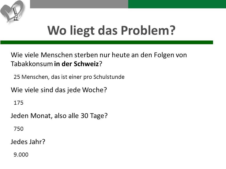 Wo liegt das Problem? Wie viele Menschen sterben nur heute an den Folgen von Tabakkonsum in der Schweiz? 25 Menschen, das ist einer pro Schulstunde Wi