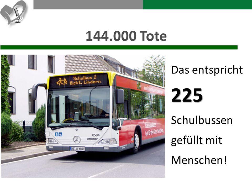 144.000 Tote Das entspricht225 Schulbussen gefüllt mit Menschen!