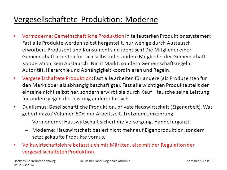 Vergesellschaftete Produktion: Moderne Vormoderne: Gemeinschaftliche Produktion in teilautarken Produktionssystemen: Fast alle Produkte werden selbst