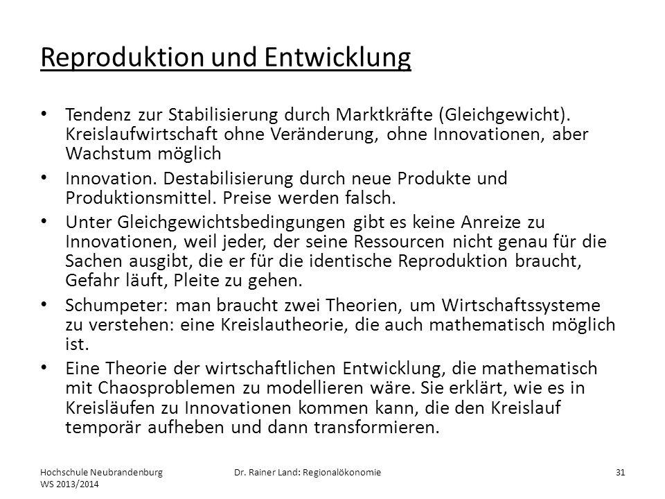 Reproduktion und Entwicklung Tendenz zur Stabilisierung durch Marktkräfte (Gleichgewicht). Kreislaufwirtschaft ohne Veränderung, ohne Innovationen, ab