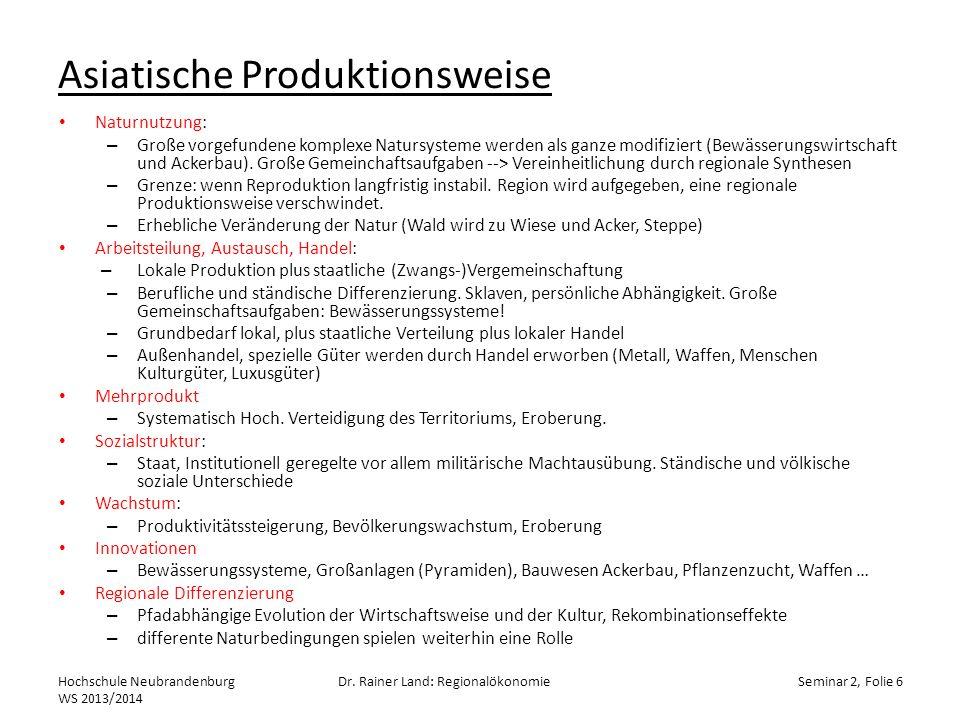 Kreislauf der Produktionsmittel Hochschule Neubrandenburg WS 2013/2014 Dr.